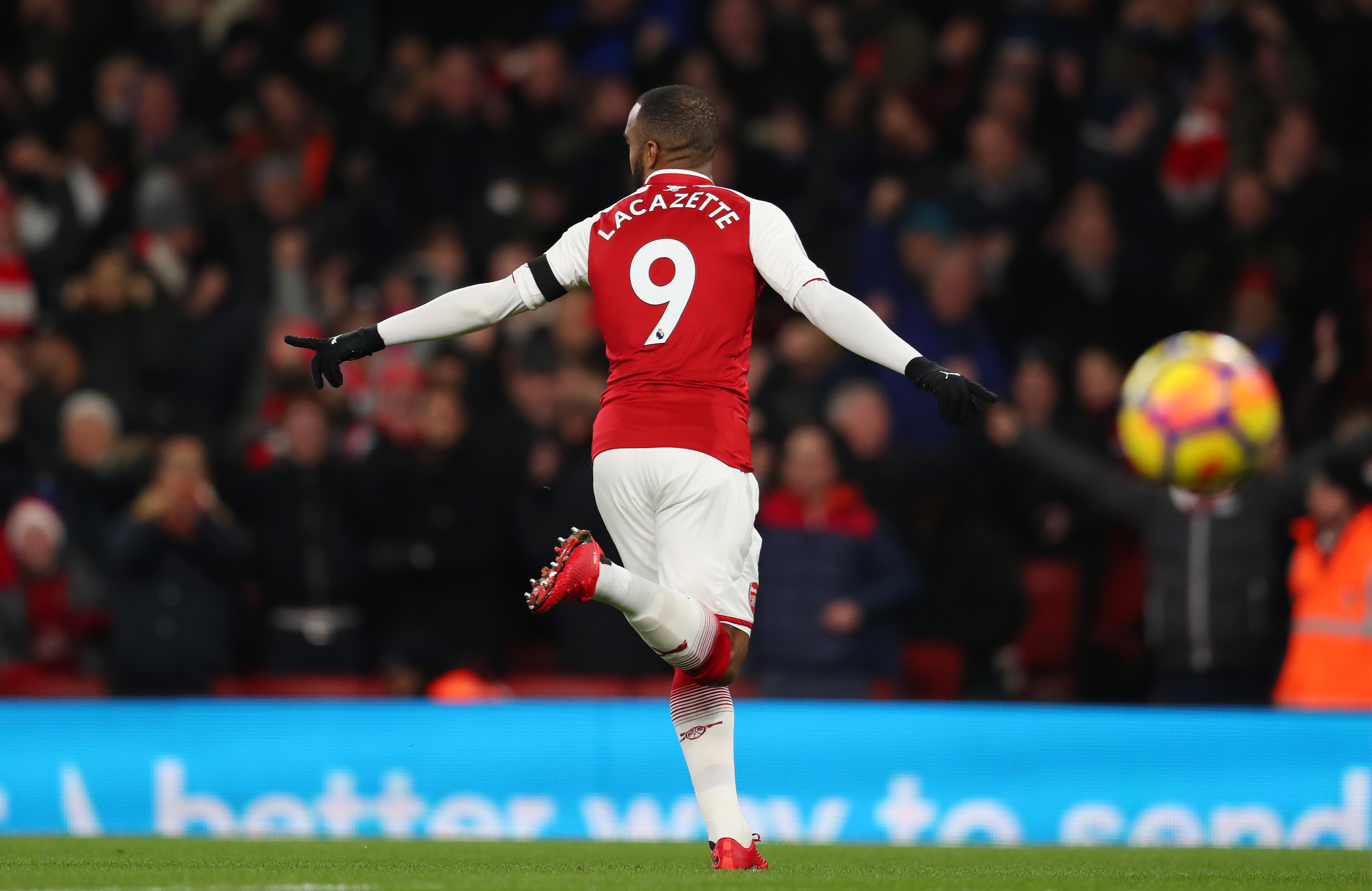 LONDON, ENGLAND - NOVEMBER 29: Alexandre Lacazette of Arsenal celebrates scoring his sides first goal during the Premier League match between Arsenal and Huddersfield Town at Emirates Stadium on November 29, 2017 in London, England. (Photo by Catherine Ivill/Getty Images)