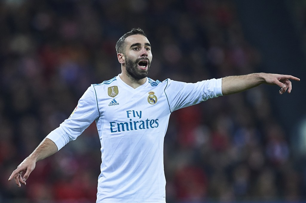 BILBAO, SPAIN - DECEMBER 02: Daniel Carvajal of Real Madrid CF reacts during the La Liga match between Athletic Club and Real Madrid at Estadio de San Mames on December 2, 2017 in Bilbao, Spain. (Photo by Juan Manuel Serrano Arce/Getty Images)