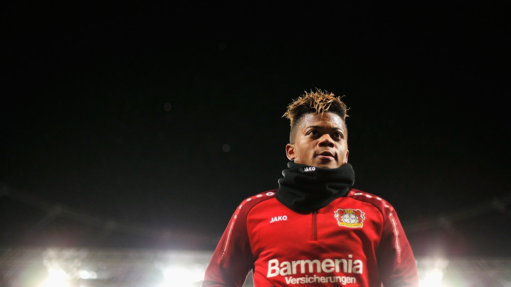 LEVERKUSEN, GERMANY - DECEMBER 13: Leon Bailey of Bayer 04 Leverkusen looks on prior to the Bundesliga match between Bayer 04 Leverkusen and SV Werder Bremen at BayArena on December 13, 2017 in Leverkusen, Germany. (Photo by Dean Mouhtaropoulos/Bongarts/Getty Images)
