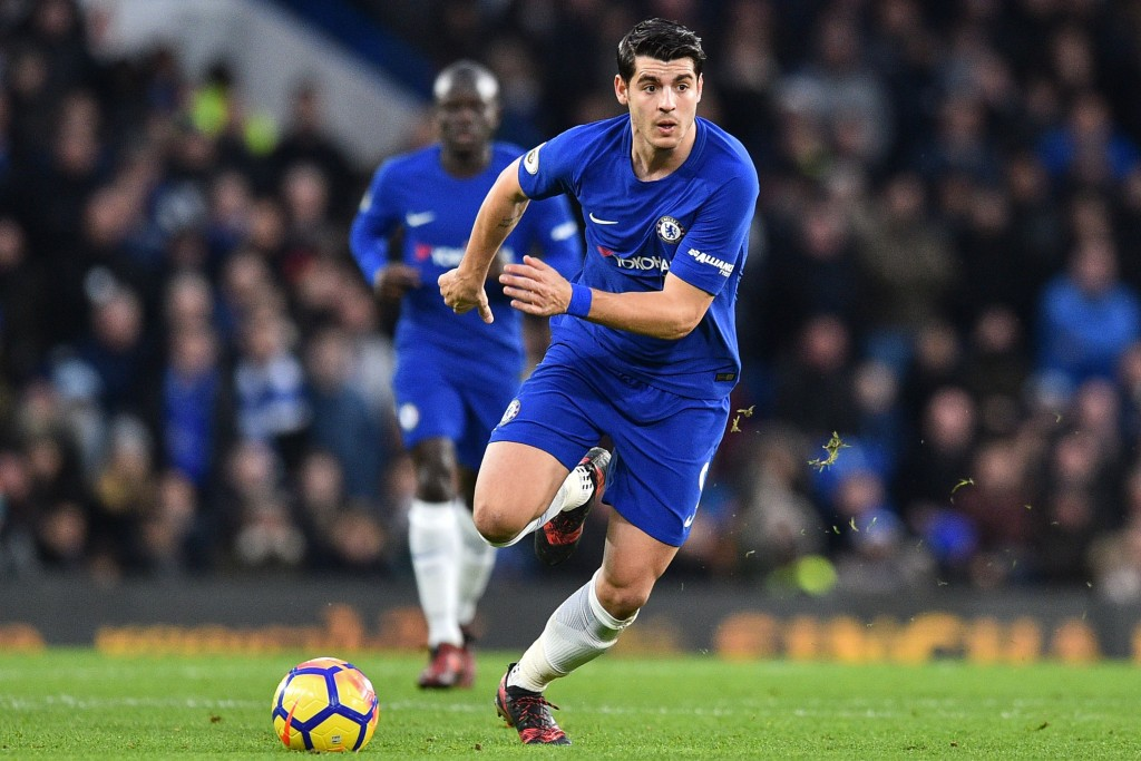 Chelsea's Spanish striker Alvaro Morata runs with the ball during the English Premier League football match between Chelsea and Brighton and Hove Albion at Stamford Bridge in London