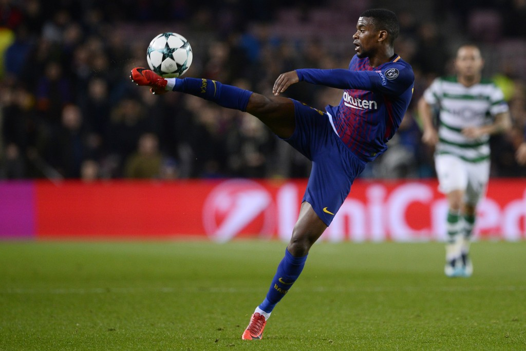 Barcelona's Portuguese defender Nelson Semedo controls the ball during the UEFA Champions League football match FC Barcelona vs Sporting CP at the Camp Nou stadium in Barcelona on December 5, 2017. / AFP PHOTO / Josep LAGO (Photo credit should read JOSEP LAGO/AFP/Getty Images)
