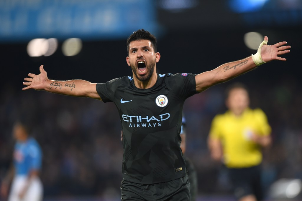 Manchester City's Argentinian striker Sergio Aguero celebrates after scoring during the UEFA Champions League football match Napoli vs Manchester City on November 1, 2017 at the San Paolo stadium in Naples. / AFP PHOTO / Filippo MONTEFORTE (Photo credit should read FILIPPO MONTEFORTE/AFP/Getty Images)