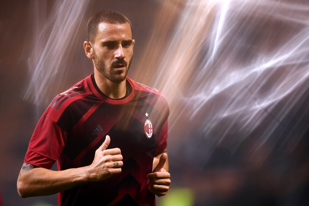 "AC Milan's defender Leonardo Bonucci from Italy warms up before the UEFA Europa League football match AC Milan vs AEK Athens at the ""San Siro Stadium"" in Milan on October 19, 2017. / AFP PHOTO / MARCO BERTORELLO (Photo credit should read MARCO BERTORELLO/AFP/Getty Images)"