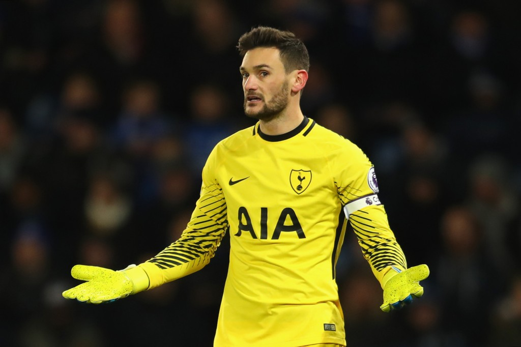 LEICESTER, ENGLAND - NOVEMBER 28: Hugo Lloris of Tottenham Hotspur reacts during the Premier League match between Leicester City and Tottenham Hotspur at The King Power Stadium on November 28, 2017 in Leicester, England. (Photo by Catherine Ivill/Getty Images)