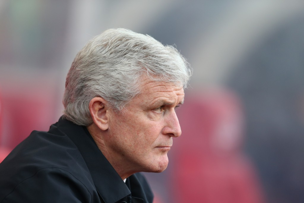 STOKE ON TRENT, ENGLAND - DECEMBER 23: Mark Hughes, Manager of Stoke City looks on prior to the Premier League match between Stoke City and West Bromwich Albion at Bet365 Stadium on December 23, 2017 in Stoke on Trent, England. (Photo by Alex Morton/Getty Images)
