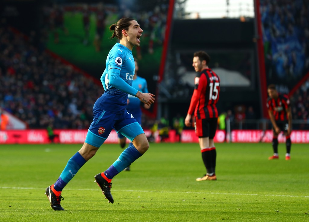 BOURNEMOUTH, ENGLAND - JANUARY 14: Hector Bellerin of Arsenal celebrates scoring his sides first goal during the Premier League match between AFC Bournemouth and Arsenal at Vitality Stadium on January 14, 2018 in Bournemouth, England. (Photo by Clive Rose/Getty Images)