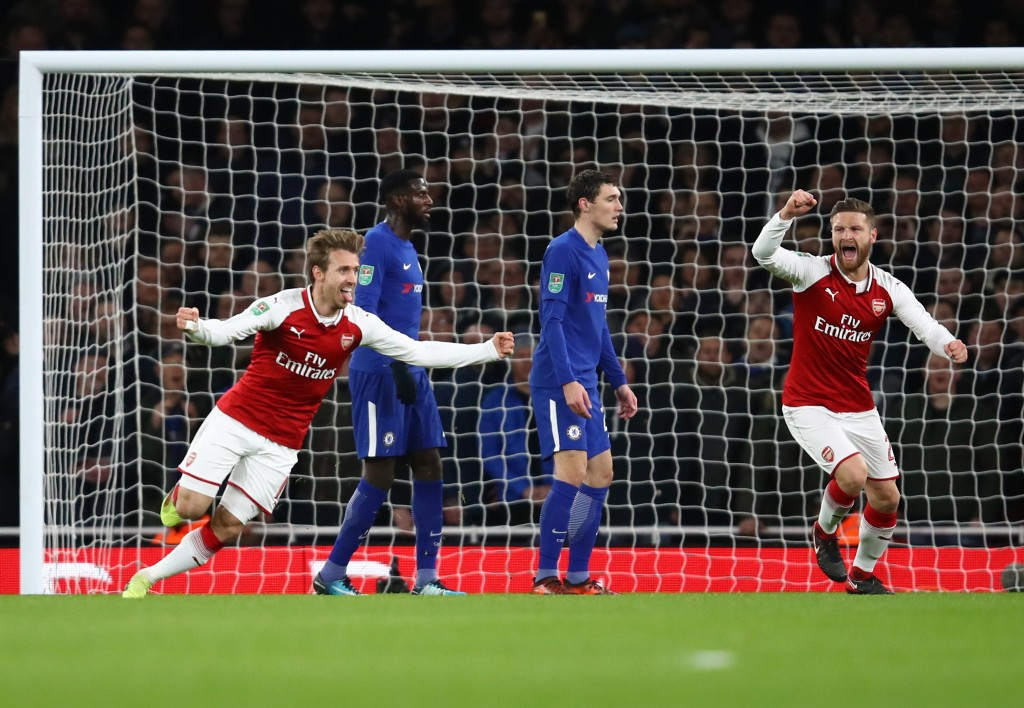 LONDON, ENGLAND - JANUARY 24: Nacho Monreal celebrates the own goal of Antonio Rudiger of Chelsea during the Carabao Cup Semi-Final Second Leg at Emirates Stadium on January 24, 2018 in London, England. (Photo by Julian Finney/Getty Images)