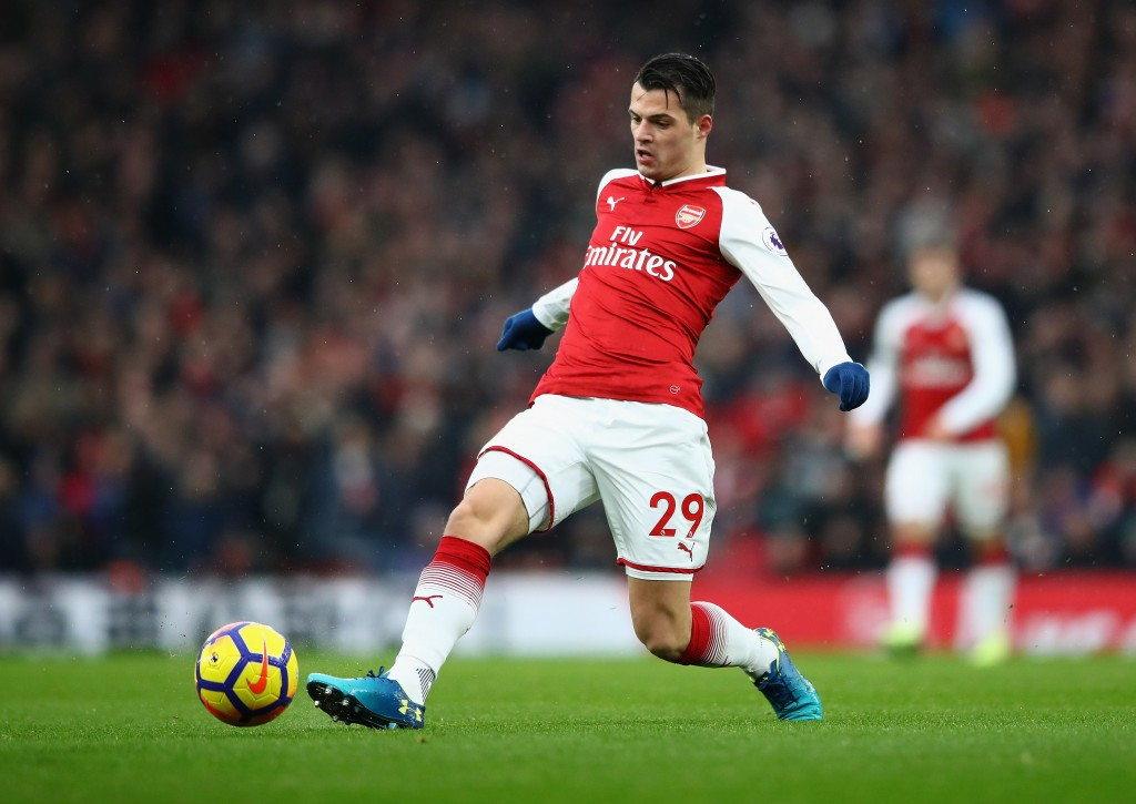 LONDON, ENGLAND - JANUARY 20: Granit Xhaka of Arsenal in action during the Premier League match between Arsenal and Crystal Palace at Emirates Stadium on January 20, 2018 in London, England. (Photo by Clive Mason/Getty Images)