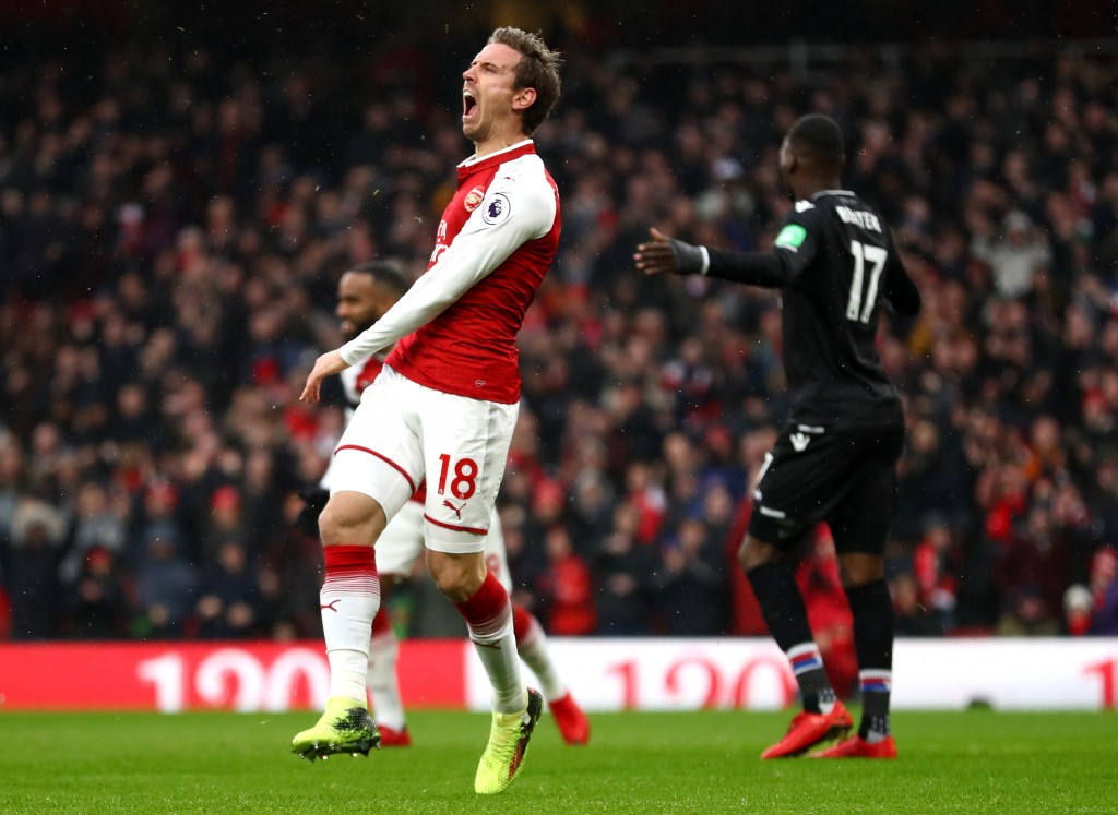 LONDON, ENGLAND - JANUARY 20: Nacho Monreal of Arsenal celebrates after scoring his sides first goal during the Premier League match between Arsenal and Crystal Palace at Emirates Stadium on January 20, 2018 in London, England. (Photo by Clive Mason/Getty Images)