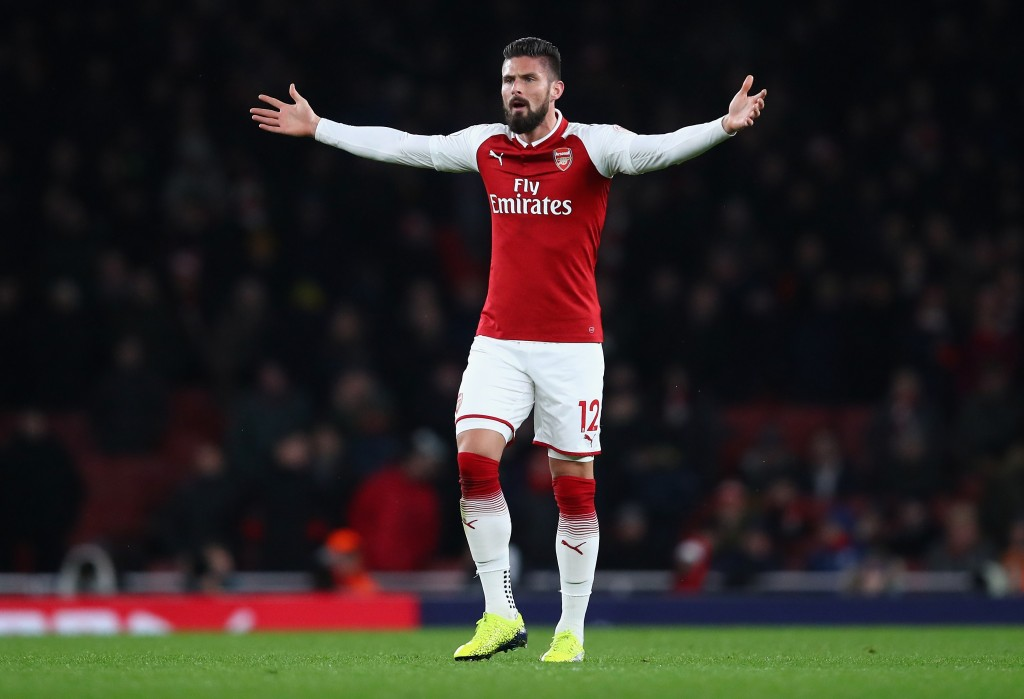LONDON, ENGLAND - DECEMBER 16: Olivier Giroud of Arsenal reacts during the Premier League match between Arsenal and Newcastle United at Emirates Stadium on December 16, 2017 in London, England. (Photo by Julian Finney/Getty Images)