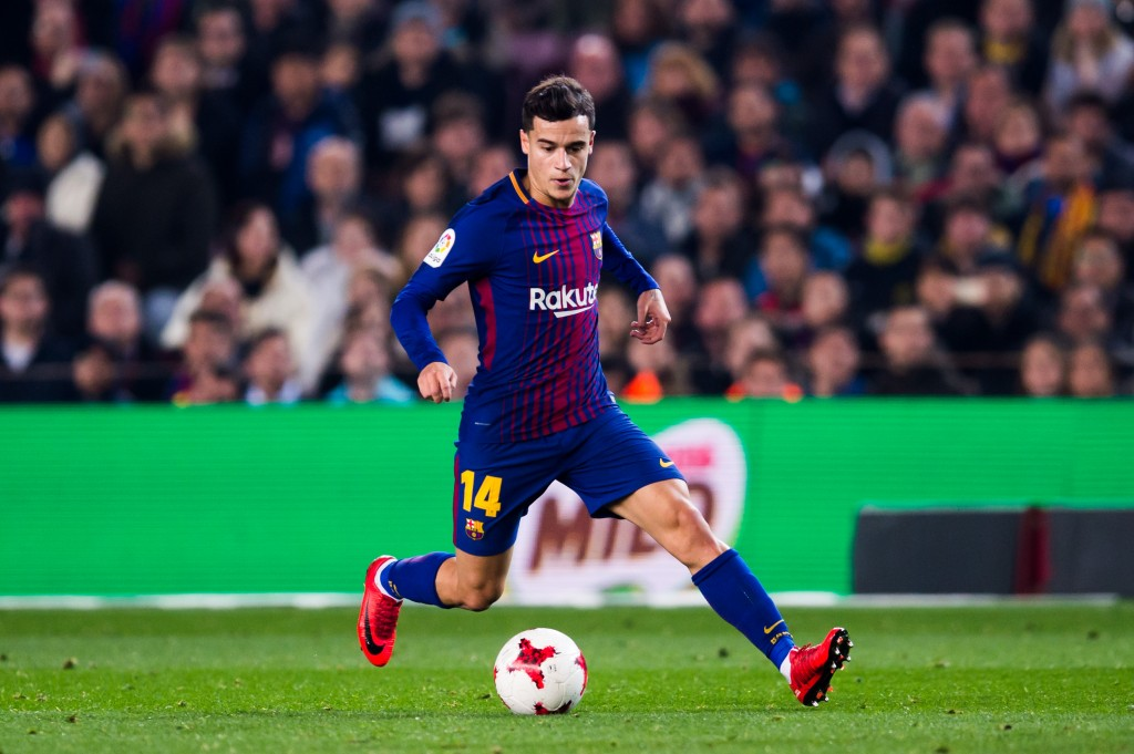 BARCELONA, SPAIN - JANUARY 25: Philippe Coutinho of FC Barcelona conducts the ball during the Spanish Copa del Rey Quarter Final Second Leg match between FC Barcelona and RCD Espanyol at Camp Nou stadium at Camp Nou on January 25, 2018 in Barcelona, Spain. (Photo by Alex Caparros/Getty Images)