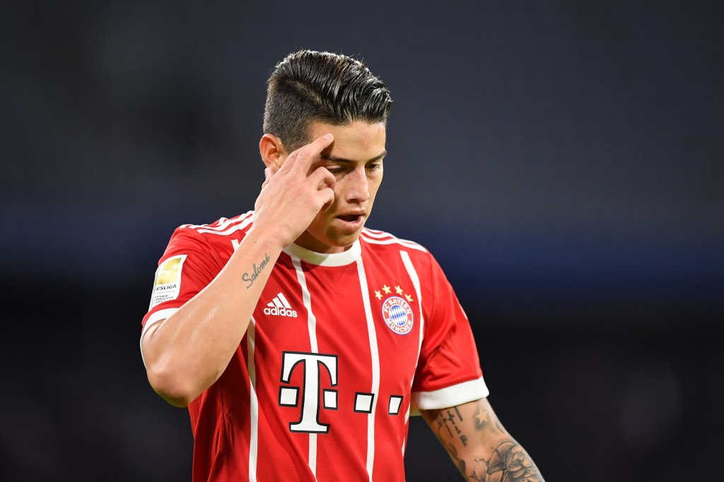 MUNICH, GERMANY - JANUARY 09: James Rodriguez of Bayern Muenchen looks down during the friendly match between Bayern Muenchen and SG Sonnenhof Grossaspach at Allianz Arena on January 9, 2018 in Munich, Germany. (Photo by Sebastian Widmann/Bongarts/Getty Images)