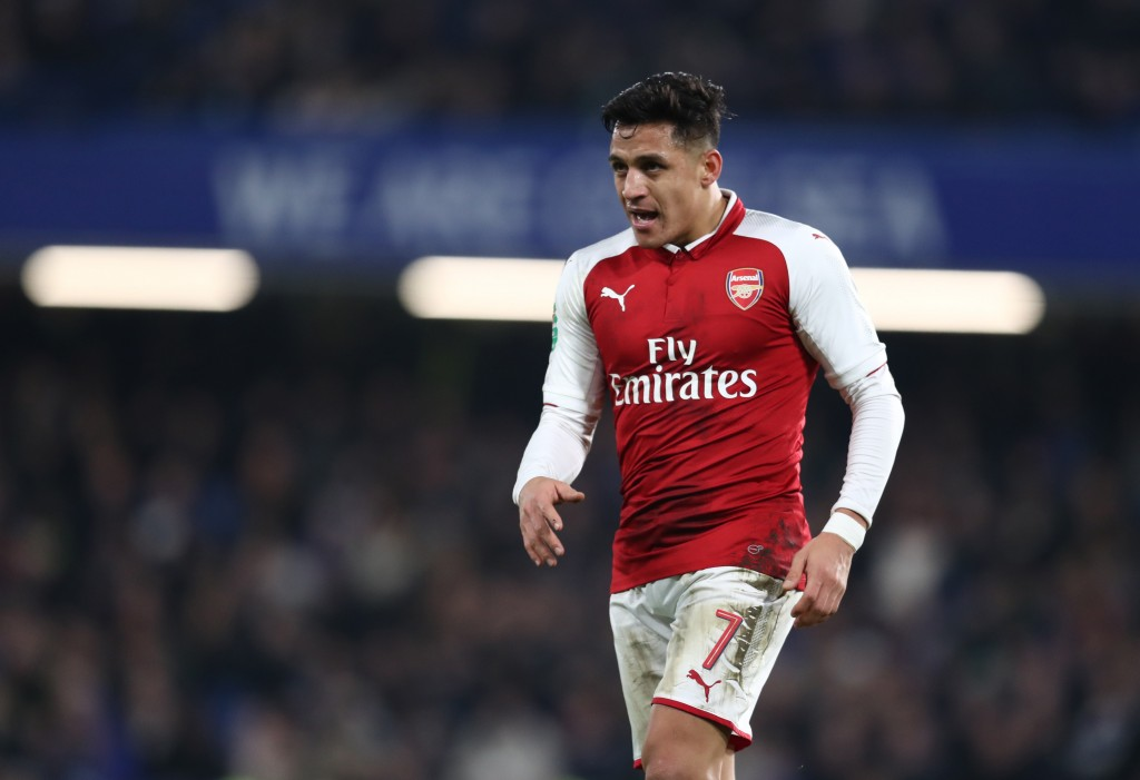 LONDON ENGLAND- JANUARY 10 Alexis Sanchez of Arsenal during the Carabao Cup Semi Final First Leg match between Chelsea and Arsenal at Stamford Bridge