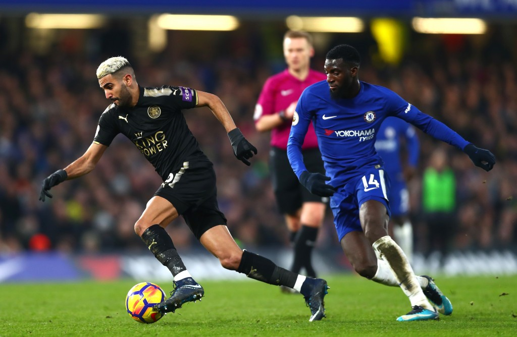 LONDON, ENGLAND - JANUARY 13: Riyad Mahrez of Leicester City is put under pressure by Tiemoue Bakayoko of Chelsea during the Premier League match between Chelsea and Leicester City at Stamford Bridge on January 13, 2018 in London, England. (Photo by Clive Rose/Getty Images)