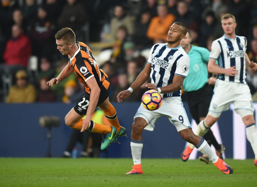 HULL, ENGLAND - NOVEMBER 26: Markus Henriksen of Hull City is tackled by Solomon Rondon of West Bromwich Albion during the Premier League match between Hull City and West Bromwich Albion at KCOM Stadium on November 26, 2016 in Hull, England. (Photo by Tony Marshall/Getty Images)