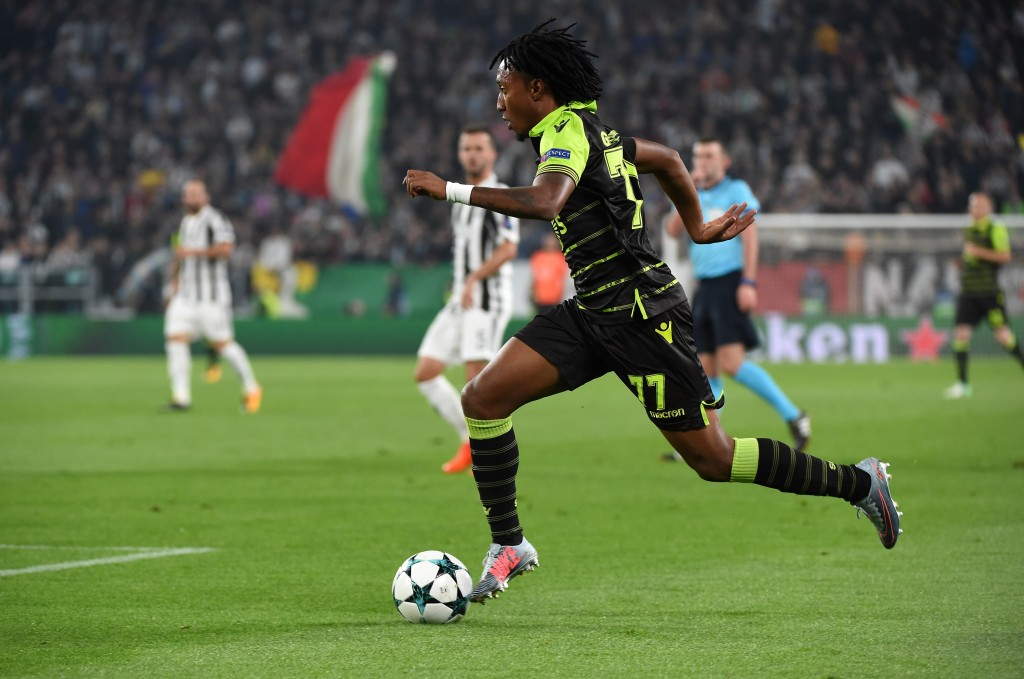 TURIN, ITALY - OCTOBER 18: Gelson Martins of Sporting CP in action during the UEFA Champions League group D match between Juventus and Sporting CP at Juventus Stadium on October 18, 2017 in Turin, Italy. (Photo by Pier Marco Tacca/Getty Images)