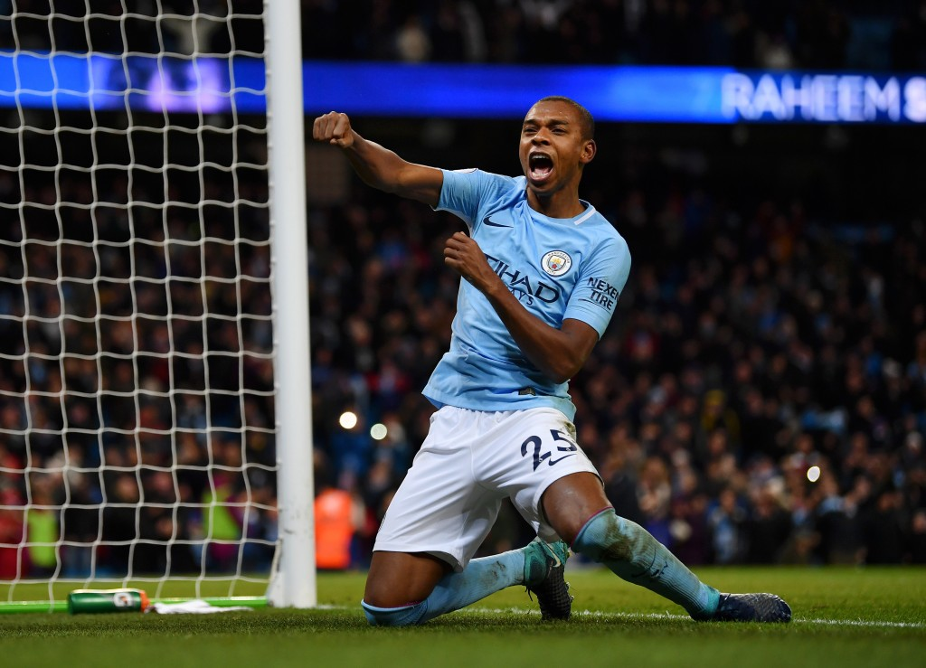 MANCHESTER, ENGLAND - NOVEMBER 29: Fernandinho of Manchester City celebrates his sides second goal during the Premier League match between Manchester City and Southampton at Etihad Stadium on November 29, 2017 in Manchester, England. (Photo by Dan Mullan/Getty Images)