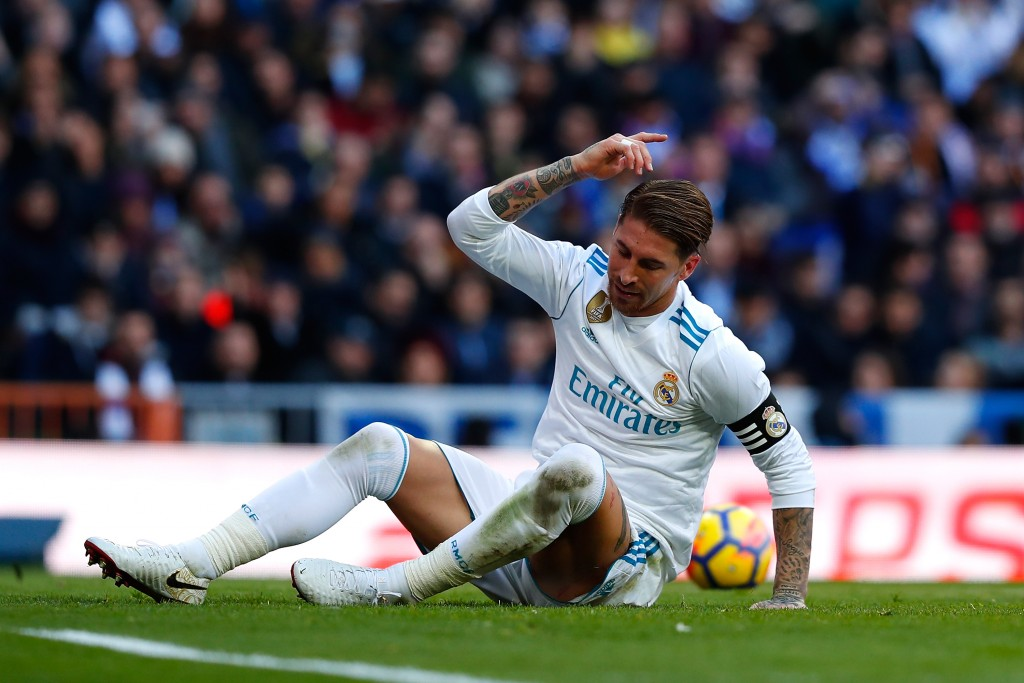 MADRID, SPAIN - DECEMBER 23: Sergio Ramos of Real Madrid reacts during the La Liga match between Real Madrid and Barcelona at Estadio Santiago Bernabeu on December 23, 2017 in Madrid, Spain. (Photo by Gonzalo Arroyo Moreno/Getty Images)