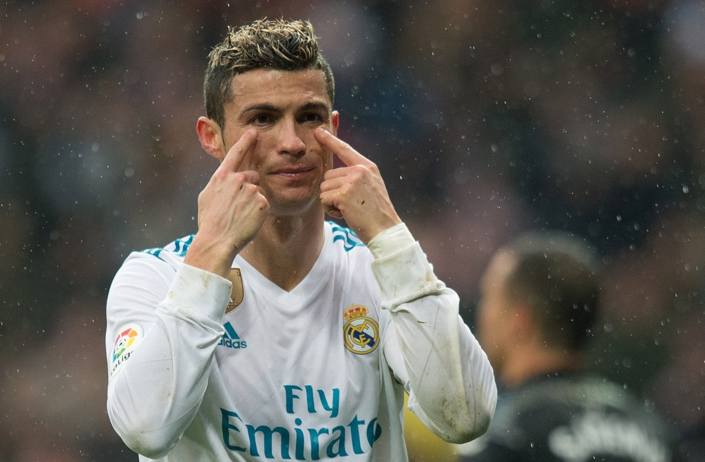 MADRID, SPAIN - JANUARY 13: Cristiano Ronaldo of Real Madrid reacts during the La Liga match between Real Madrid and Villarreal at Estadio Santiago Bernabeu on January 13, 2018 in Madrid, Spain. (Photo by Denis Doyle/Getty Images)