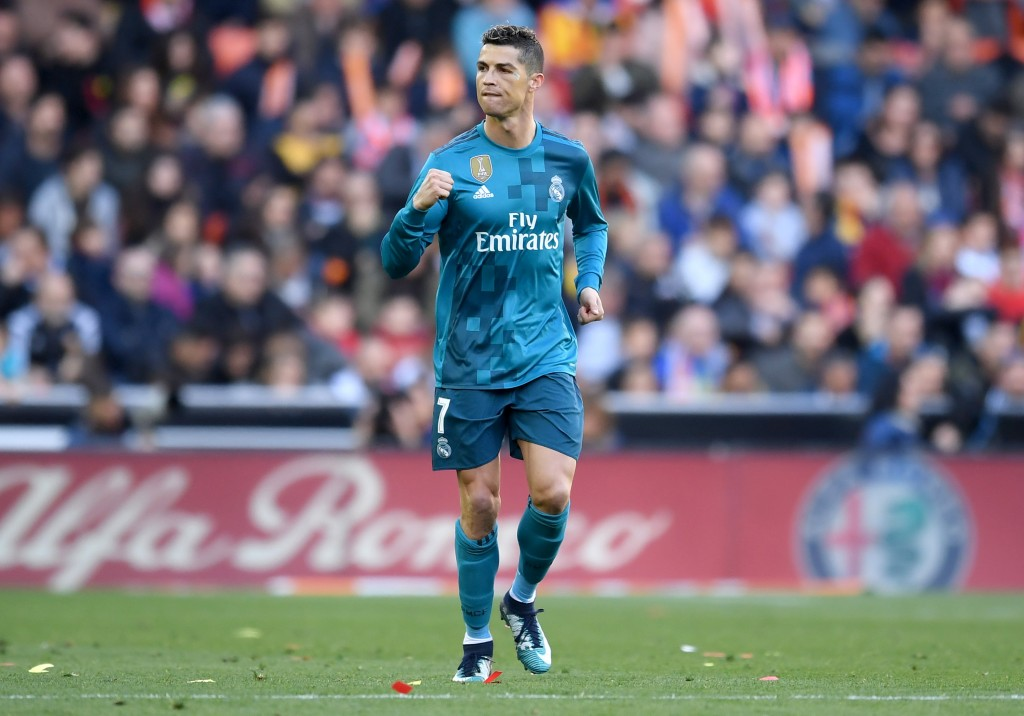 VALENCIA, SPAIN - JANUARY 27: Cristiano Ronaldo of Real Madrid celebrates scoring his side's first goal during the La Liga match between Valencia and Real Madrid at Estadio Mestalla on January 27, 2018 in Valencia, Spain. (Photo by David Ramos/Getty Images)