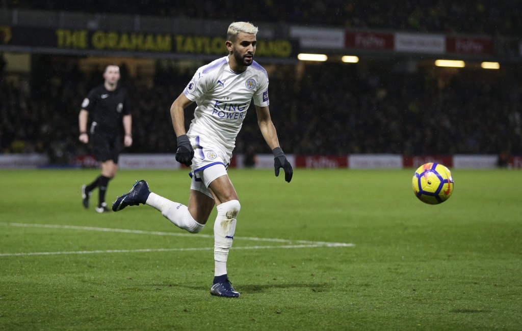 WATFORD, ENGLAND - DECEMBER 26: Riyad Mahrez of Leicester City during the Premier League match between Watford and Leicester City at Vicarage Road on December 26, 2017 in Watford, England. (Photo by Henry Browne/Getty Images)