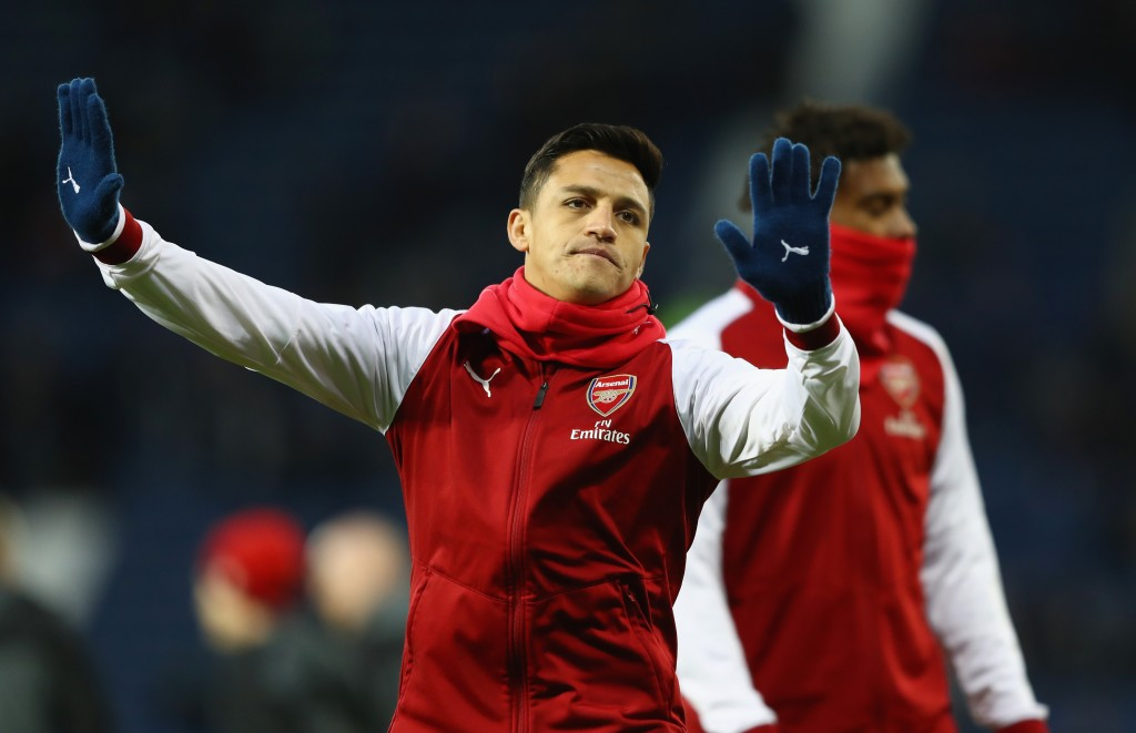 WEST BROMWICH, ENGLAND - DECEMBER 31: Alexis Sanchez of Arsenal gestures prior to the Premier League match between West Bromwich Albion and Arsenal at The Hawthorns on December 31, 2017 in West Bromwich, England. (Photo by Michael Steele/Getty Images)