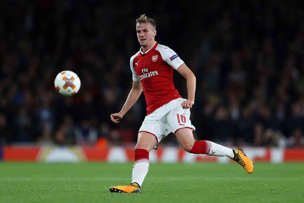 LONDON, ENGLAND - SEPTEMBER 14: Rob Holding of Arsenal during the UEFA Europa League group H match between Arsenal FC and 1. FC Koeln at Emirates Stadium on September 14, 2017 in London, United Kingdom. (Photo by Richard Heathcote/Getty Images)