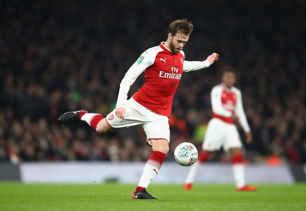 LONDON, ENGLAND - DECEMBER 19: Calum Chambers of Arsenal in action during the Carabao Cup Quarter-Final match between Arsenal and West Ham United at Emirates Stadium on December 19, 2017 in London, England. (Photo by Julian Finney/Getty Images)