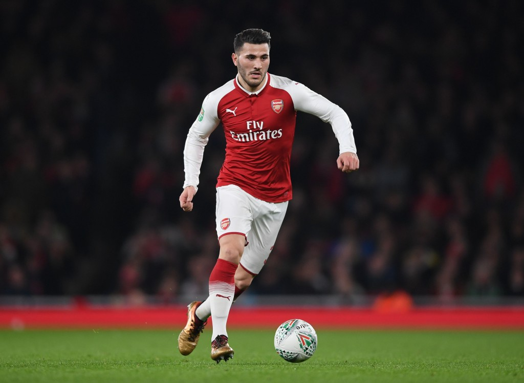 LONDON, ENGLAND - DECEMBER 19: Sead Kolasinac of Arsenal runs with the ball during the Carabao Cup quarter final match between Arsenal and West Ham Unitedat Emirates Stadium on December 19, 2017 in London, England. (Photo by Shaun Botterill/Getty Images)