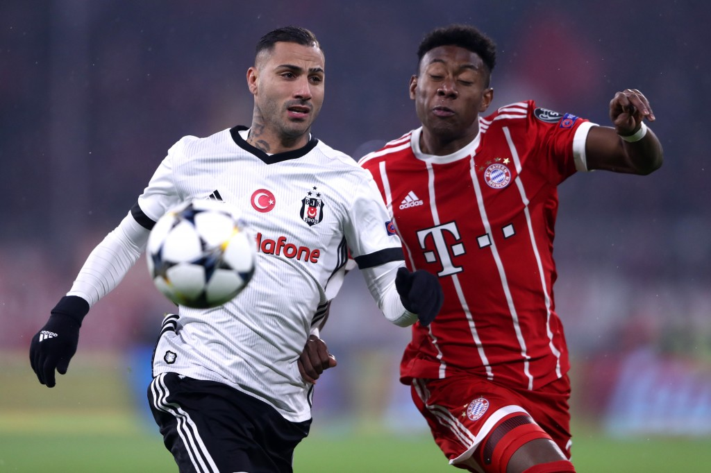 Quaresma was rendered anonymous due to Alaba's smart defending. (Photo courtesy - Alex Grimm/Bongarts/Getty Images)