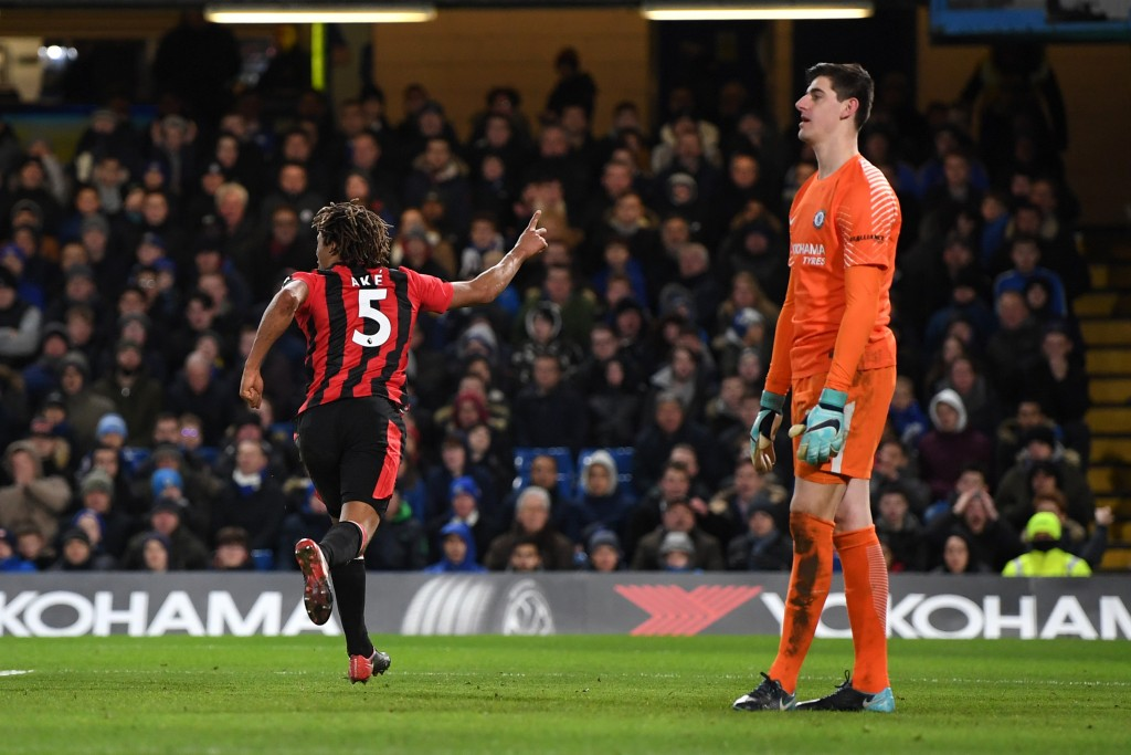 LONDON, ENGLAND - JANUARY 31: Nathan Ake of AFC Bournemouth celebrates after scoring his sides third goal during the Premier League match between Chelsea and AFC Bournemouth at Stamford Bridge on January 31, 2018 in London, England. (Photo by Shaun Botterill/Getty Images)