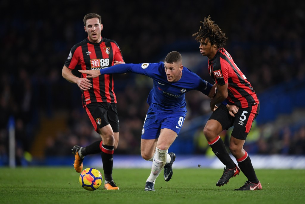 LONDON, ENGLAND - JANUARY 31: Ross Barkley of Chelsea is challenged by Nathan Ake of AFC Bournemouth during the Premier League match between Chelsea and AFC Bournemouth at Stamford Bridge on January 31, 2018 in London, England. (Photo by Shaun Botterill/Getty Images)