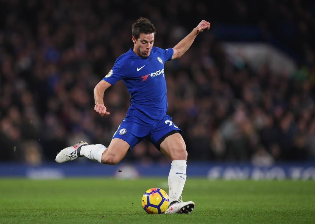 LONDON, ENGLAND - JANUARY 31: Cesar Azpilicueta of Chelsea crosses the ball during the Premier League match between Chelsea and AFC Bournemouth at Stamford Bridge on January 31, 2018 in London, England. (Photo by Shaun Botterill/Getty Images)