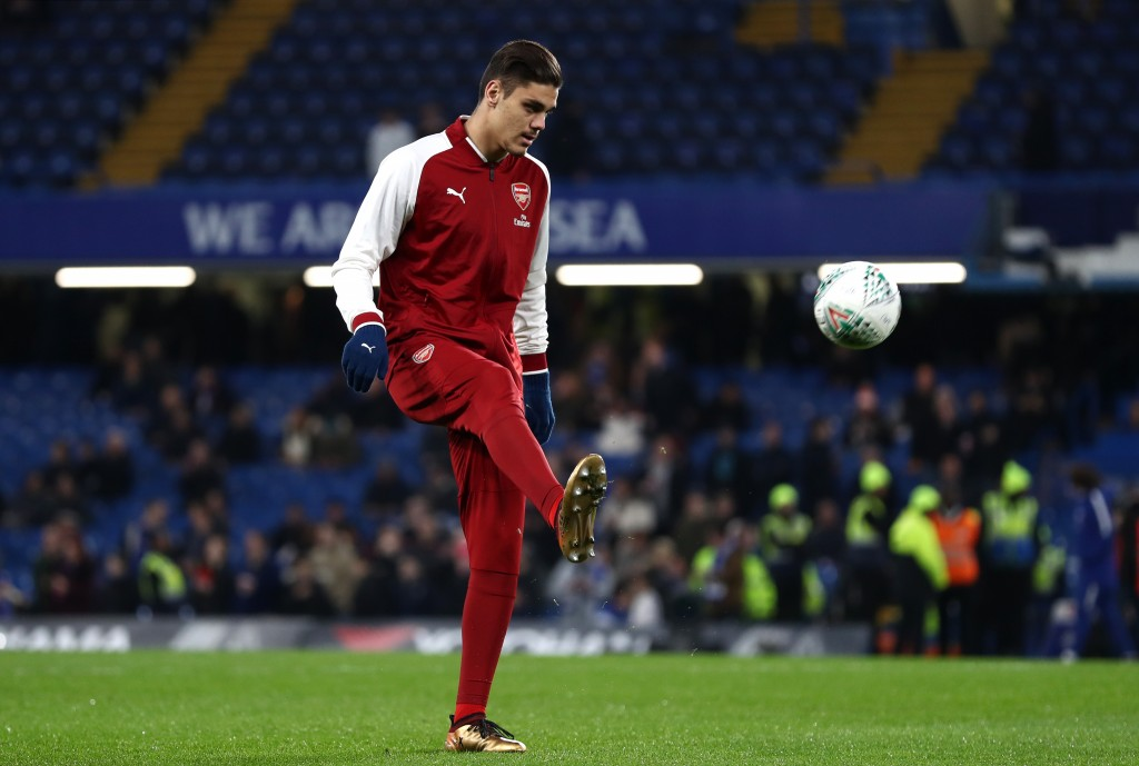 LONDON ENGLAND- JANUARY 10 Konstantinos Mavropanos of Arsenal warms up prior to the Carabao Cup Semi Final First Leg match between Chelsea and Arsenal at Stamford Bridge