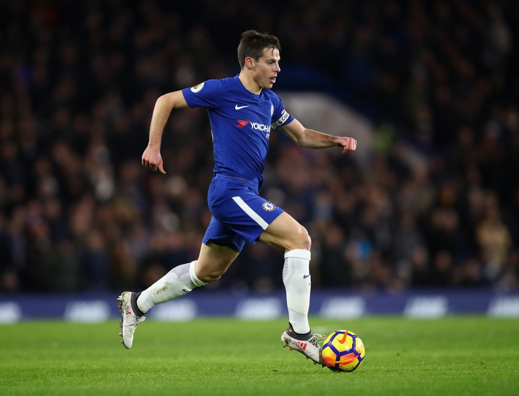 LONDON, ENGLAND - FEBRUARY 12: Cesar Azpilicueta of Chelsea in action during the Premier League match between Chelsea and West Bromwich Albion at Stamford Bridge on February 12, 2018 in London, England. (Photo by Julian Finney/Getty Images)