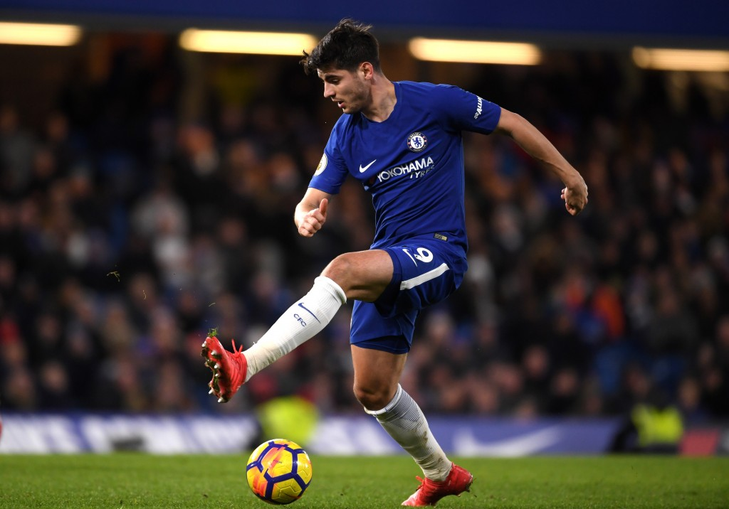 LONDON, ENGLAND - FEBRUARY 12: Alvaro Morata of Chelsea runs with the ball during the Premier League match between Chelsea and West Bromwich Albion at Stamford Bridge on February 12, 2018 in London, England. (Photo by Mike Hewitt/Getty Images)