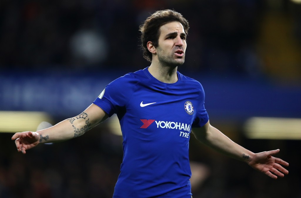 LONDON, ENGLAND - FEBRUARY 12: Cesc Fabregas of Chelsea reacts during the Premier League match between Chelsea and West Bromwich Albion at Stamford Bridge on February 12, 2018 in London, England. (Photo by Julian Finney/Getty Images)