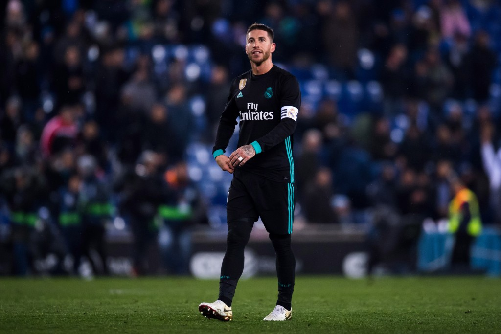 BARCELONA, SPAIN - FEBRUARY 27: Sergio Ramos of Real Madrid CF reacts after defeat after the La Liga match between Espanyol and Real Madrid at RCDE Stadium on February 27, 2018 in Barcelona, Spain. (Photo by Alex Caparros/Getty Images )