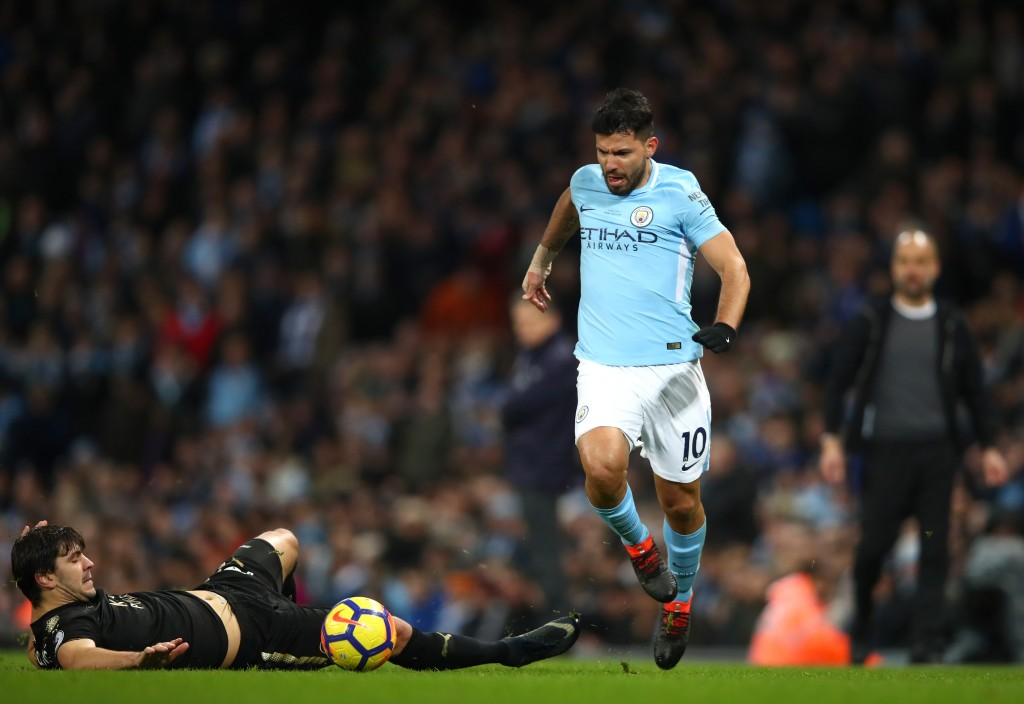 MANCHESTER, ENGLAND - FEBRUARY 10: Sergio Aguero of Manchester City runs with the ball during the Premier League match between Manchester City and Leicester City at Etihad Stadium on February 10, 2018 in Manchester, England. (Photo by Clive Brunskill/Getty Images)