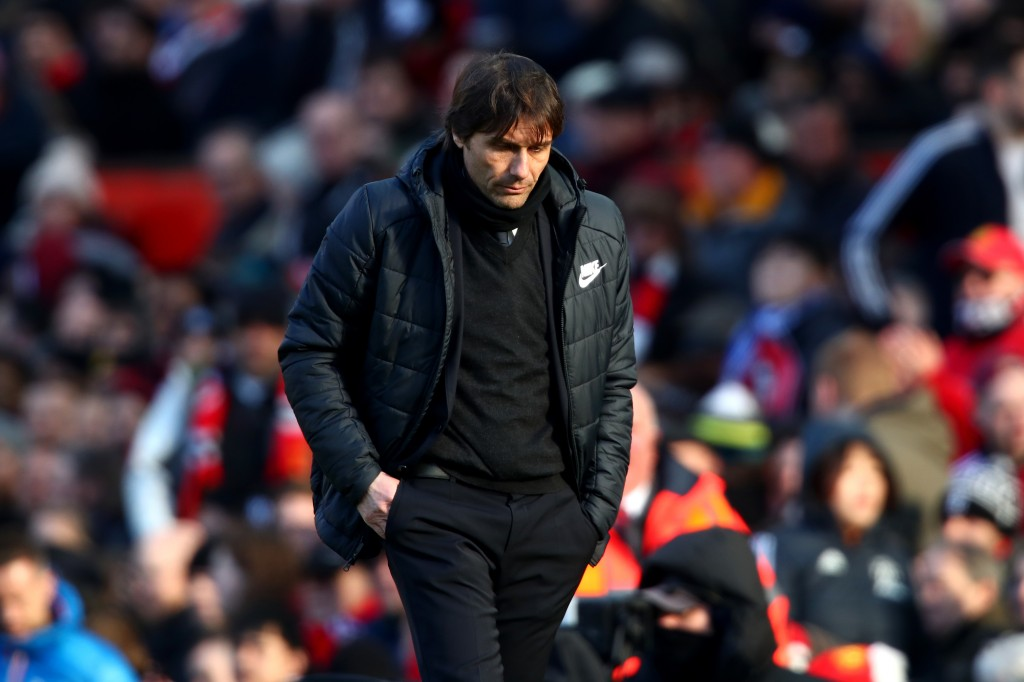 MANCHESTER, ENGLAND - FEBRUARY 25: Antonio Conte, Manager of Chelsea during the Premier League match between Manchester United and Chelsea at Old Trafford on February 25, 2018 in Manchester, England. (Photo by Clive Brunskill/Getty Images)