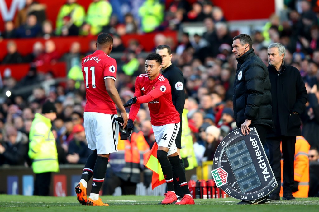 MANCHESTER, ENGLAND - FEBRUARY 25: Anthony Martial of Manchester United is subbed off for Jesse Lingard of Manchester United during the Premier League match between Manchester United and Chelsea at Old Trafford on February 25, 2018 in Manchester, England. (Photo by Clive Brunskill/Getty Images)