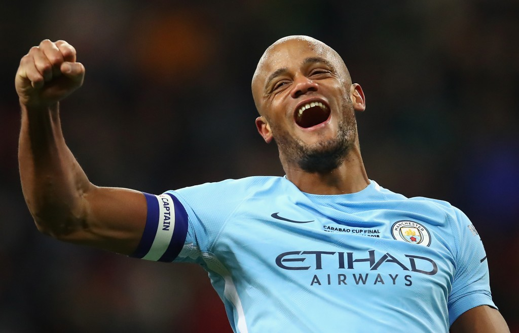 LONDON, ENGLAND - FEBRUARY 25: Vincent Kompany of Manchester City celebrates after winning the Carabao Cup Final between Arsenal and Manchester City at Wembley Stadium on February 25, 2018 in London, England. (Photo by Julian Finney/Getty Images)