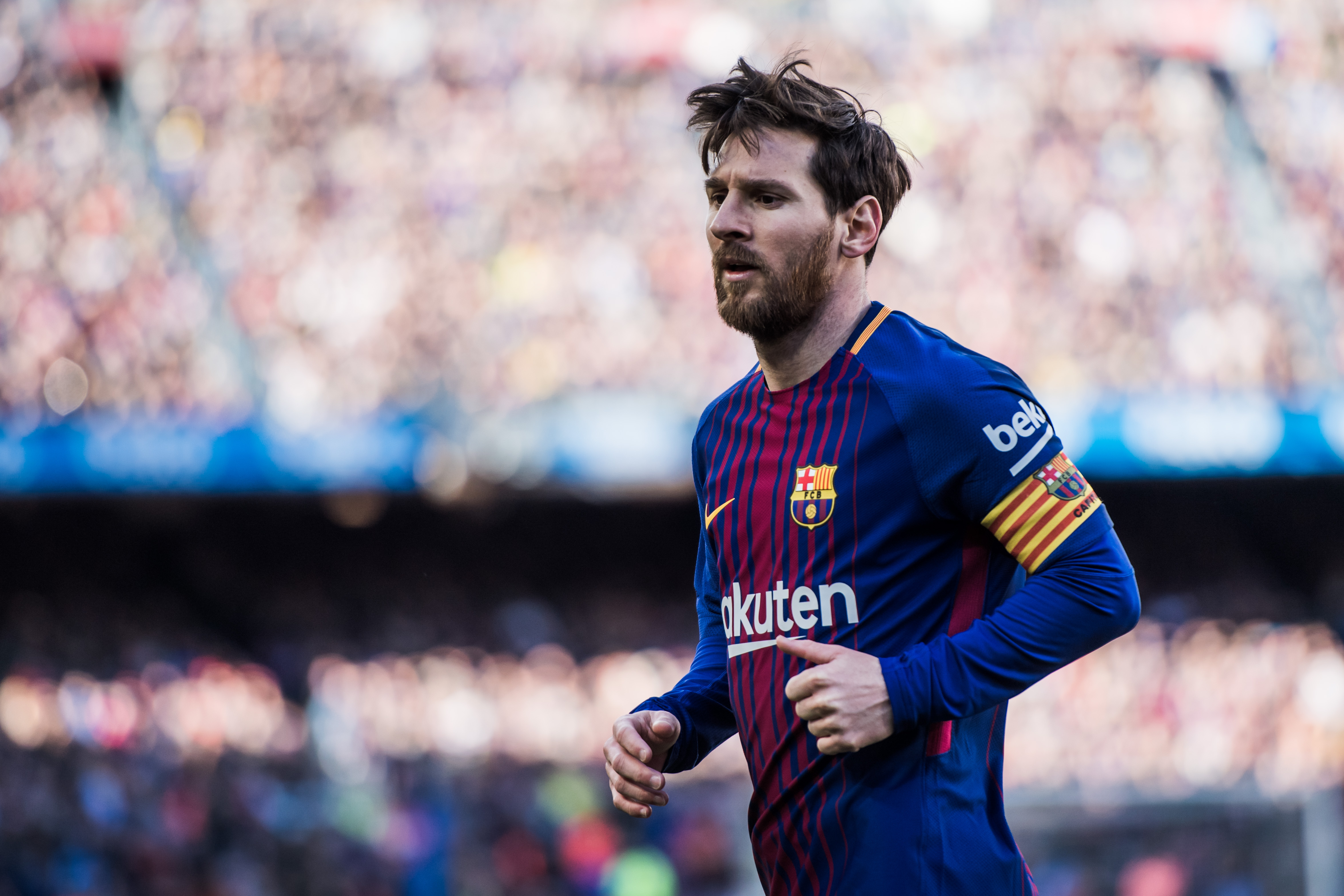 BARCELONA, SPAIN - MARCH 18: (EDITOR'S NOTE: This image has been processed using digital filters) Lionel Messi of FC Barcelona looks on during the La Liga match between Barcelona and Athletic Club at Camp Nou on March 18, 2018 in Barcelona, Spain. (Photo by Alex Caparros/Getty Images)