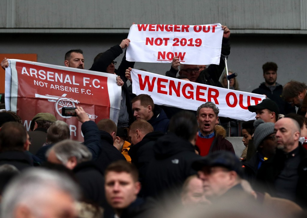 BRIGHTON, ENGLAND - MARCH 04: Fans protest towards Arsene Wenger, Manager of Arsenal (not pictured) following the Premier League match between Brighton and Hove Albion and Arsenal at Amex Stadium on March 4, 2018 in Brighton, England. (Photo by Catherine Ivill/Getty Images)