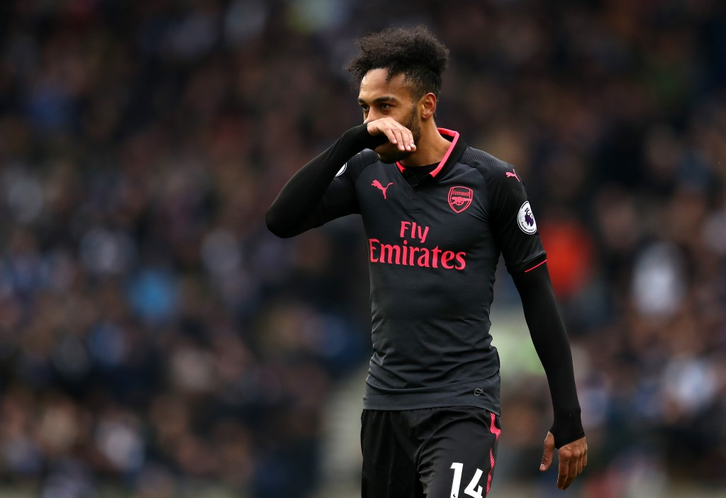 BRIGHTON, ENGLAND - MARCH 04: Pierre-Emerick Aubameyang of Arsenal looks dejected during the Premier League match between Brighton and Hove Albion and Arsenal at Amex Stadium on March 4, 2018 in Brighton, England. (Photo by Catherine Ivill/Getty Images)