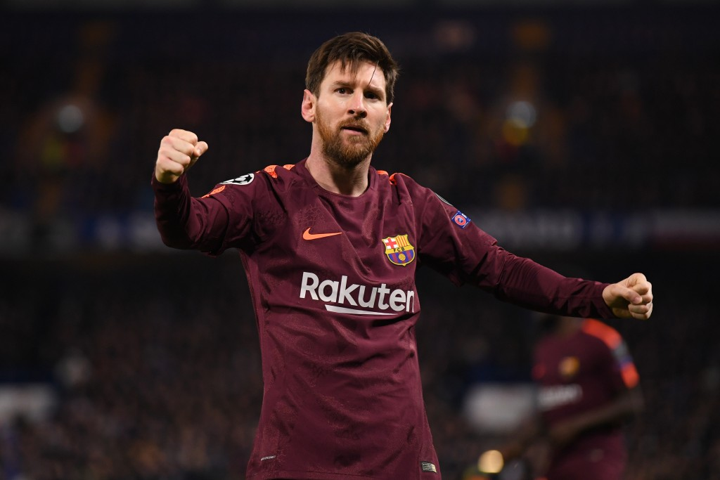 LONDON, ENGLAND - FEBRUARY 20: Lionel Messi of Barcelona celebrates his equaliser during the UEFA Champions League Round of 16 First Leg match between Chelsea FC and FC Barcelona at Stamford Bridge on February 20, 2018 in London, United Kingdom. (Photo by Mike Hewitt/Getty Images)