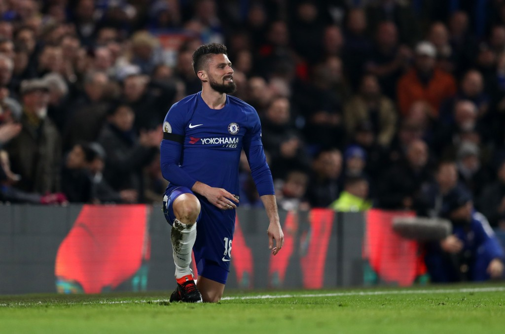 LONDON, ENGLAND - MARCH 10: Olivier Giroud of Chelsea reacts during the Premier League match between Chelsea and Crystal Palace at Stamford Bridge on March 10, 2018 in London, England. (Photo by Catherine Ivill/Getty Images)