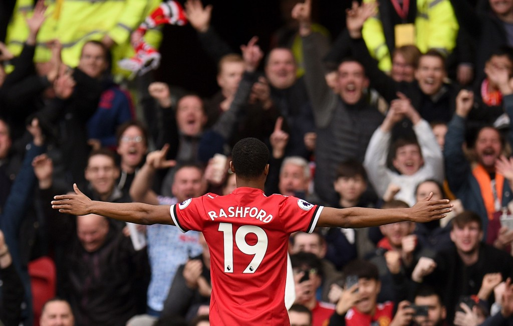 The hero on the day for United (OLI SCARFF/AFP/Getty Images)