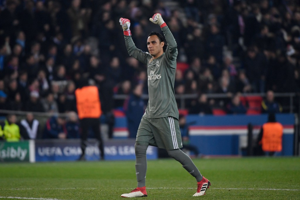 Real Madrid's Costa Rican goalkeeper Keylor Navas reacts after his team's first goal during the UEFA Champions League round of 16 second leg football match between Paris Saint-Germain (PSG) and Real Madrid on March 6, 2018, at the Parc des Princes stadium in Paris. / AFP PHOTO / CHRISTOPHE SIMON (Photo credit should read CHRISTOPHE SIMON/AFP/Getty Images)