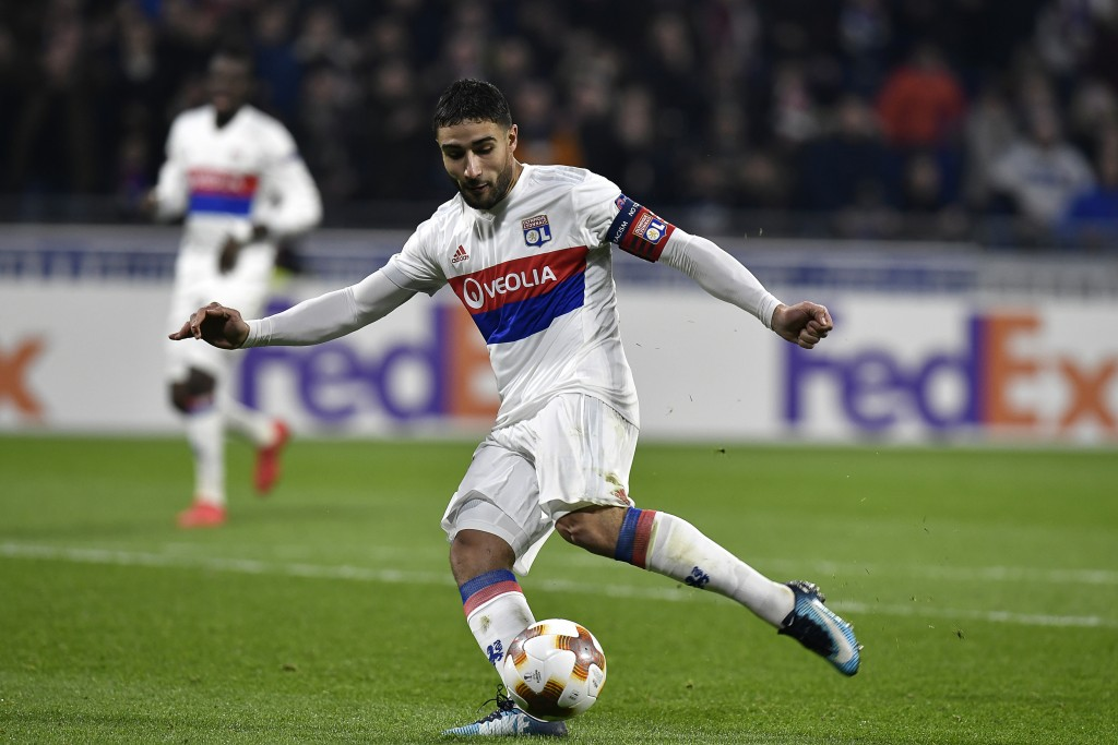 Lyon's French midfielder Nabil Fekir scores a goal during the UEFA Europa League football match between Olympique Lyonnais (OL) and Villarreal CF (VCF) on February 15, 2018, at the Groupama Stadium in Decines-Charpieu, central-eastern France. / AFP PHOTO / JEFF PACHOUD (Photo credit should read JEFF PACHOUD/AFP/Getty Images)